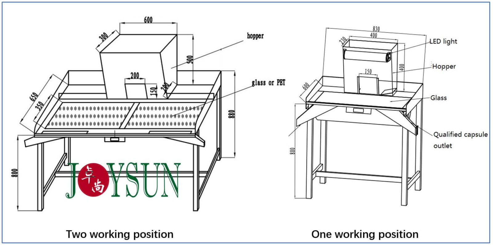 capsule inspection table drawing